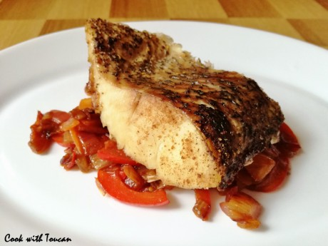 Roasted pike with spiced vegetables