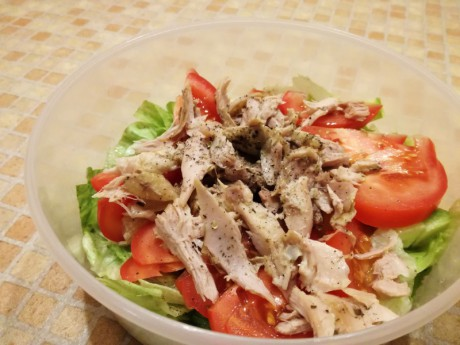 Chicken roasted with oregano and fresh vegetables salad